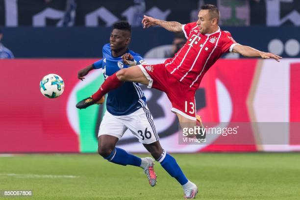 Breel Embolo of FC Schalke 04 Rafael Alcantara do Nascimento of FC Bayern Munich during the Bundesliga match between Schalke 04 and Bayern Munich on...