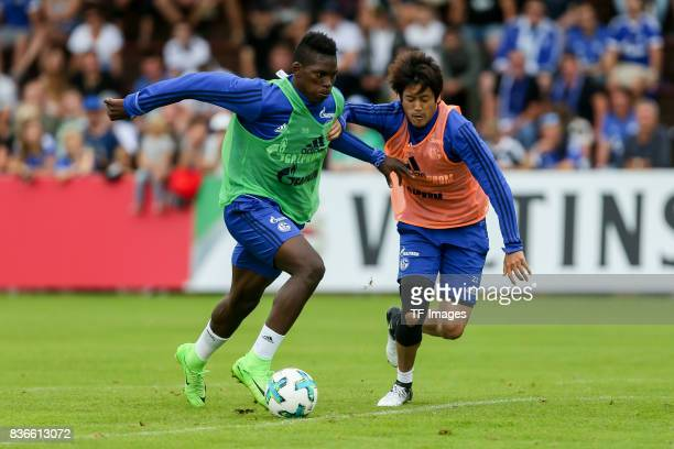 Breel Embolo of Schalke and Atsuto Uchida of Schalke battle for the ball during the Training Camp of FC Schalke 04 on July 30 2017 in Mittersill...