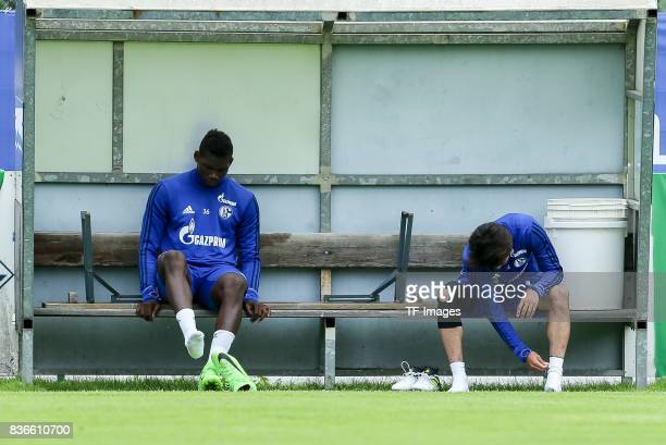 Breel Embolo of Schalke and Atsuto Uchida of Schalke sits on the bench during the Training Camp of FC Schalke 04 on July 30 2017 in Mittersill Austria