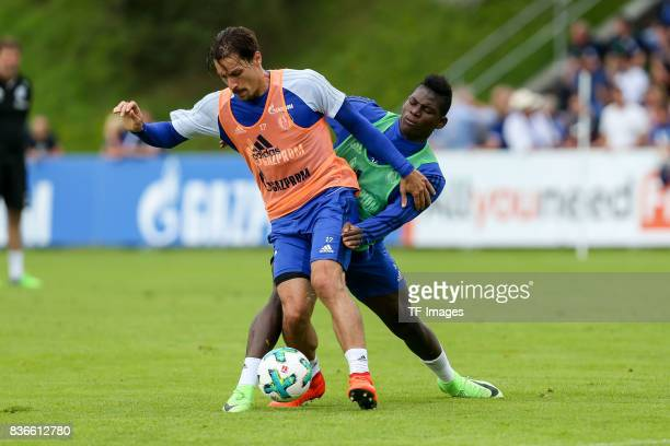 Breel Embolo of Schalke and Benjamin Stambouli of Schalke battle for the ball during the Training Camp of FC Schalke 04 on July 30 2017 in Mittersill...