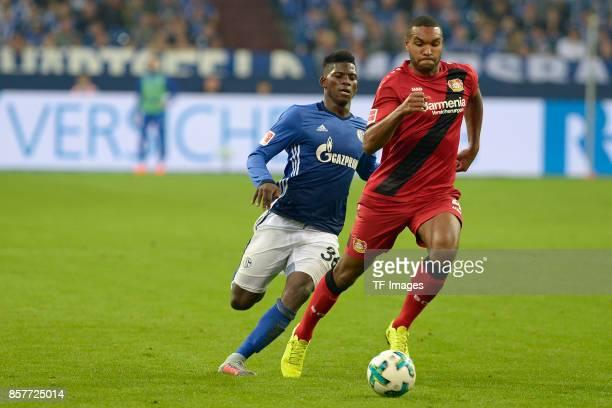 Breel Embolo of Schalke and Jonathan Tah of Leverkusen battle for the ball during the Bundesliga match between FC Schalke 04 and Bayer 04 Leverkusen...