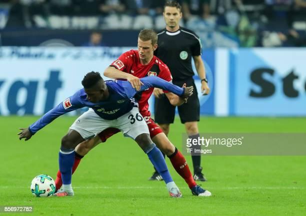Breel Embolo of Schalke and Lars Bender of Leverkusen battle for the ball during the Bundesliga match between FC Schalke 04 and Bayer 04 Leverkusen...