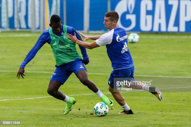 Breel Embolo of Schalke and Matija Nastasic of Schalke battle for the ball during the Training Camp of FC Schalke 04 on July 27 2017 in Mittersill...