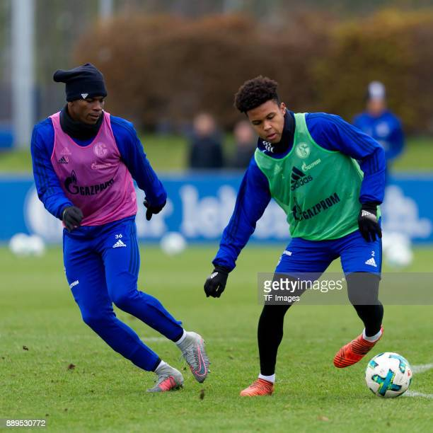 Breel Embolo of Schalke and Weston McKennie of Schalke battle for the ball during a training session at the FC Schalke 04 Training center on December...