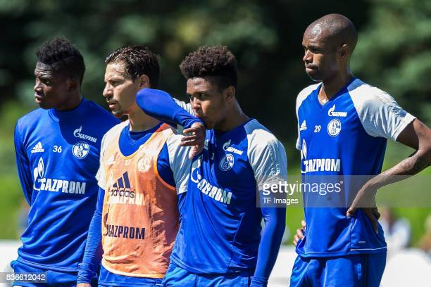 Breel Embolo of Schalke Benjamin Stambouli of Schalke Weston McKennie of Schalke and Naldo of Schalke looks on during the Training Camp of FC Schalke...
