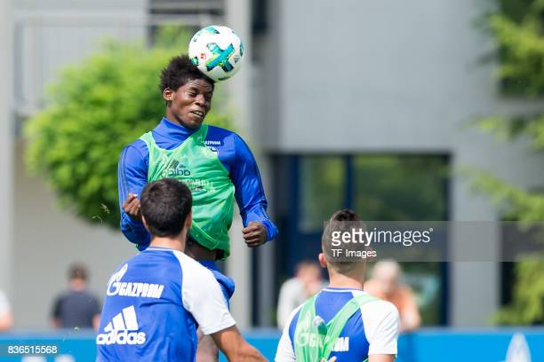 Breel Embolo of Schalke controls the ball during a training session at the FC Schalke 04 Training center on July 5 2017 in Gelsenkirchen Germany