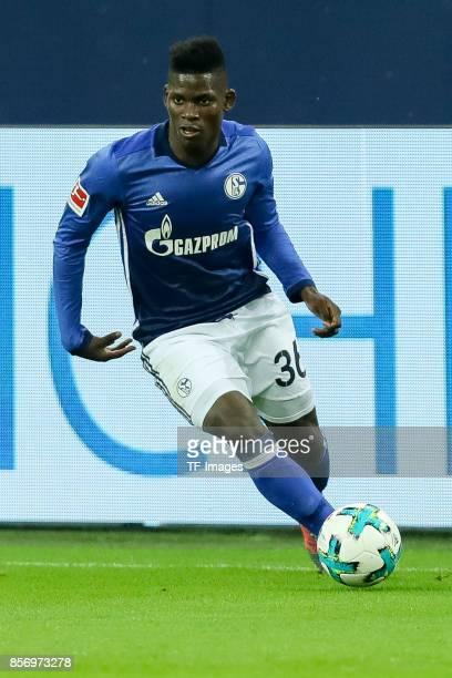 Breel Embolo of Schalke controls the ball during the Bundesliga match between FC Schalke 04 and Bayer 04 Leverkusen at VeltinsArena on September 29...