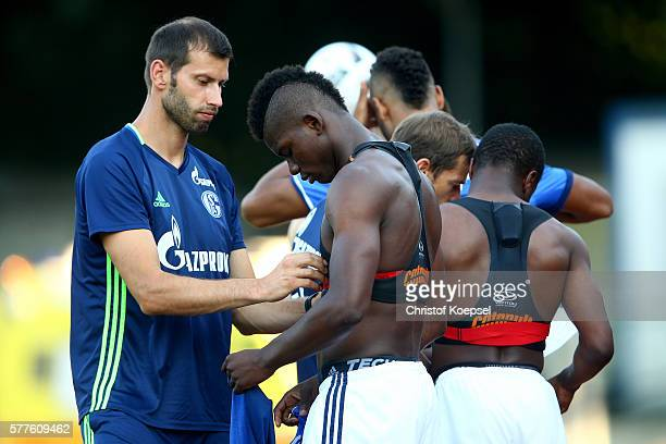 Breel Embolo of Schalke gets a fitnes belt during the friendly match between DSC WanneEickel and FC Schalke 04 at Mondpalast Arena on July 19 2016 in...