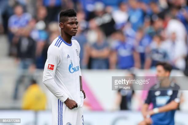 Breel Embolo of Schalke looks dejected during the Bundesliga match between TSG 1899 Hoffenheim and FC Schalke 04 at Wirsol RheinNeckarArena on...