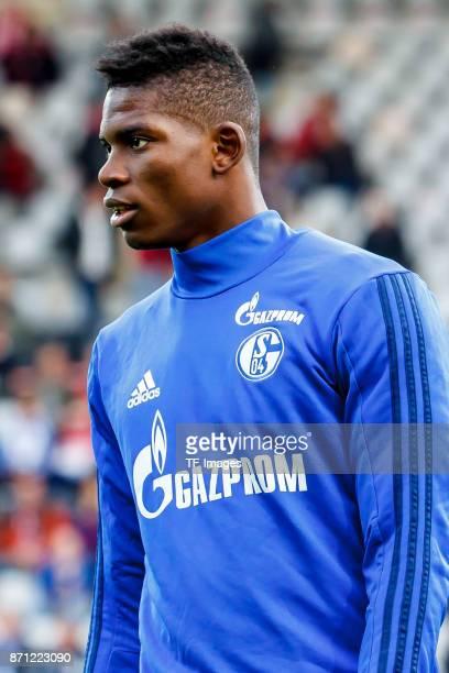 Breel Embolo of Schalke looks on prior the Bundesliga match between SportClub Freiburg and FC Schalke 04 at SchwarzwaldStadion on November 4 2017 in...