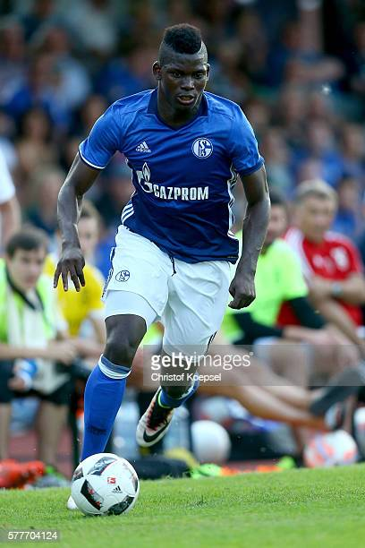 Breel Embolo of Schalke runs with the ball during the friendly match between DSC WanneEickel and FC Schalke 04 at Mondpalast Arena on July 19 2016 in...