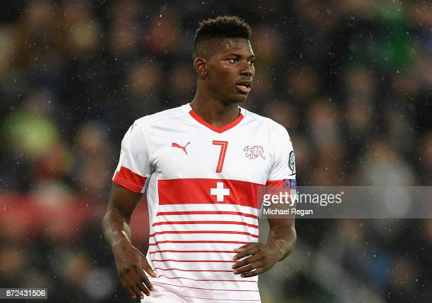 Breel Embolo of Switzerland in action during the FIFA 2018 World Cup Qualifier PlayOff First Leg between Northern Ireland and Switzerland at Windsor...