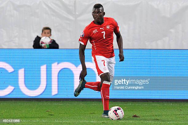 Breel Embolo of Switzerland in action during the UEFA EURO 2016 qualifier between Switzerland and San Marino at AFG Arena on October 9 2015 in St...