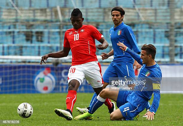 Breel Embolo of Switzerland is challenged by Valerio Verre of Italy during the 4 Nations Tournament match between Italy U20 and Switzerland U20 at...