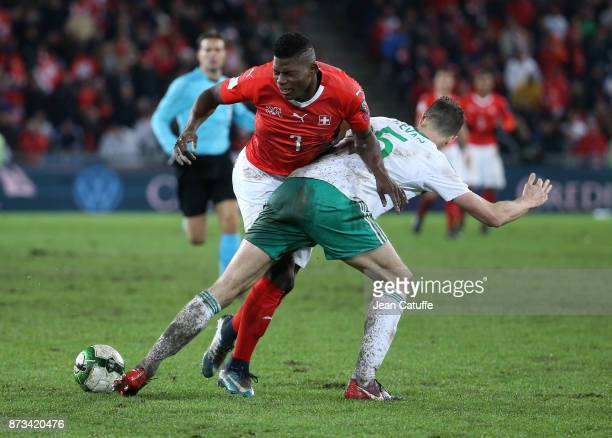 Breel Embolo of Switzerland Jonny Evans of Northern Ireland during the FIFA 2018 World Cup Qualifier PlayOff Second Leg between Switzerland and...