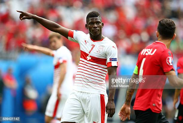 Breel Embolo of Switzerland looks on during the UEFA EURO 2016 Group A match between Albania and Switzerland at Stade BollaertDelelis on June 11 2016...