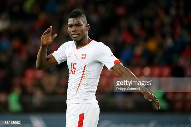 Breel Embolo of Switzerland reacts during the international friendly match between Switzerland and the United States at Stadium Letzigrund on March...
