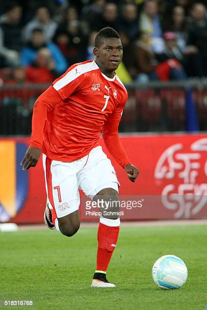 Breel Embolo of Switzerland runs with the ball during the international friendly match between Switzerland and BosniaHerzegovina at Stadium...