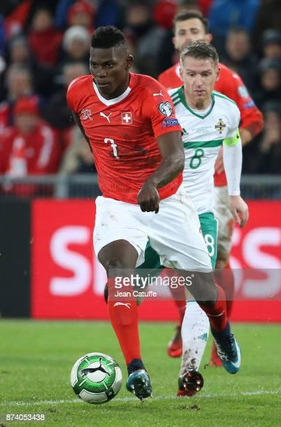 Breel Embolo of Switzerland Steven Davis of Northern Ireland during the FIFA 2018 World Cup Qualifier PlayOff Second Leg between Switzerland and...