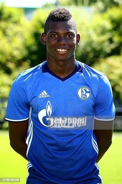 Breel Embolo poses during the team presentation of FC Schalke at Veltins Arena on July 20 2016 in Gelsenkirchen Germany