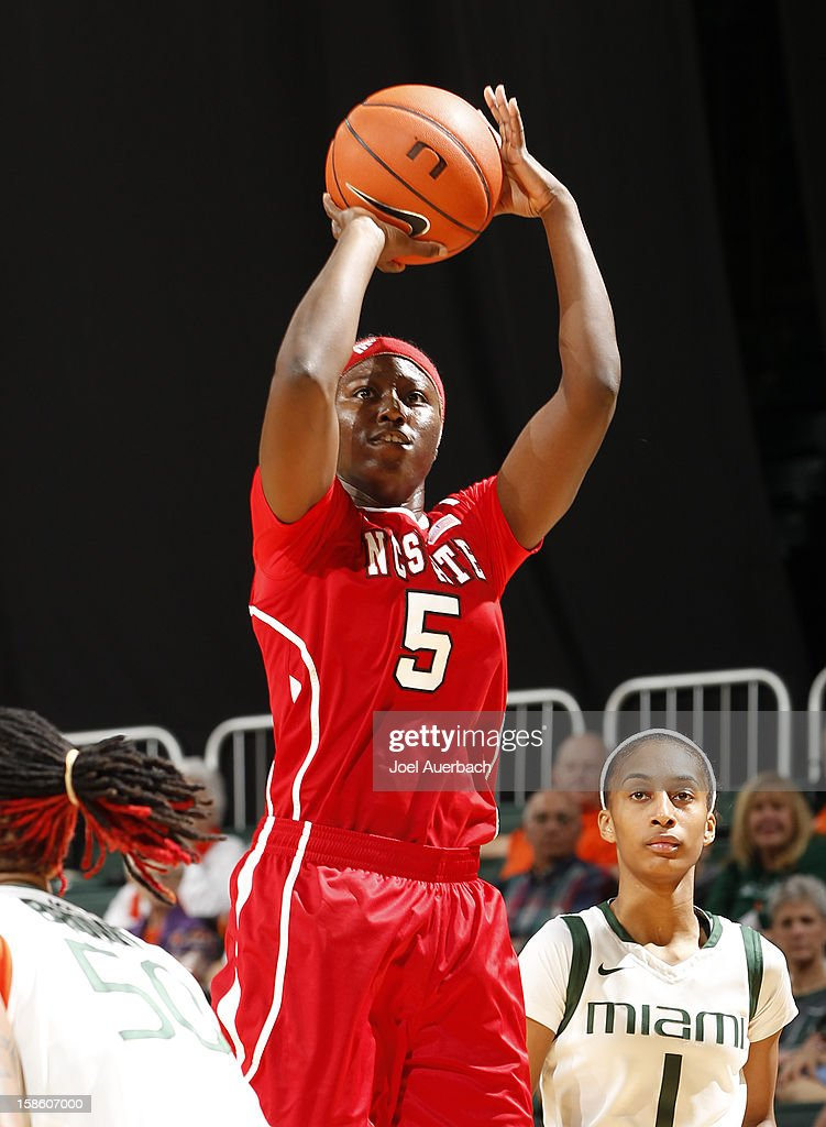 Breezy Williams #5 of the North Carolina State Wolfpack shoots the ball against the Miami Hurricanes on December 20, 2012 at the BankUnited Center in Coral Gables, Florida. The Hurricanes defeated the Wolfpack 79-53.
