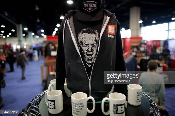Breitbart News merchandise are for sale in the Exhibitor Hub during the first day of the Conservative Political Action Conference at the Gaylord...