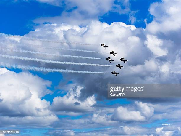 Breitling Jet Team Flying Air Show Hillsboro Oregon cloudy sky