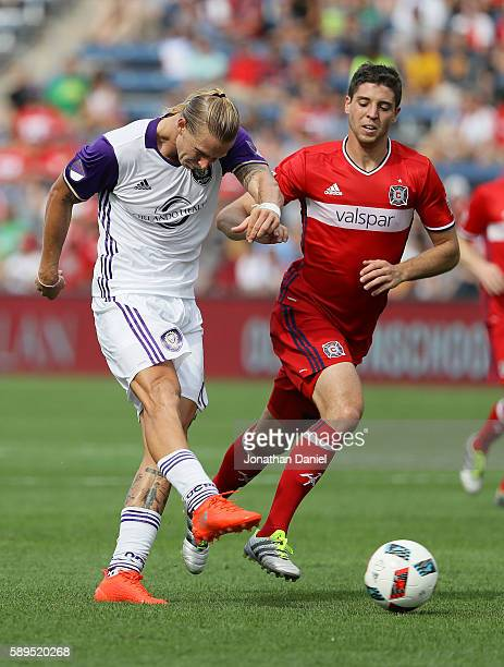 Brek Shea of Orlando City FC fires a shot past Matt Polster of Chicago Fire during an MLS match at Toyota Park on August 14 2016 in Bridgeview...