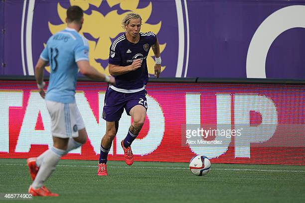 Brek Shea of Orlando City SC chases the ball on the sidelines during an MLS soccer match between the New York City FC and the Orlando City SC at the...