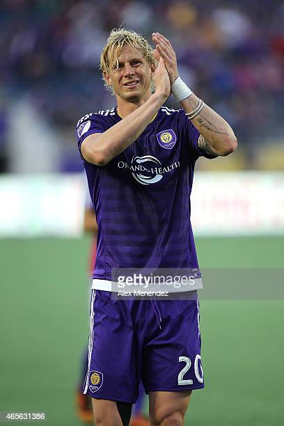 Brek Shea of Orlando City SC claps to fans after an MLS soccer match between the New York City FC and the Orlando City SC at the Orlando Citrus Bowl...