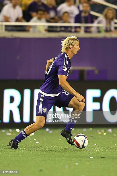 Brek Shea of Orlando City SC dribbles the ball during an international friendly soccer match between Brazil's Ponte Preta and the Orlando City SC at...