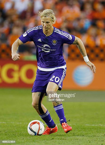 Brek Shea of Orlando City SC in action against the Houston Dynamo during their game at BBVA Compass Stadium on March 13 2015 in Houston Texas