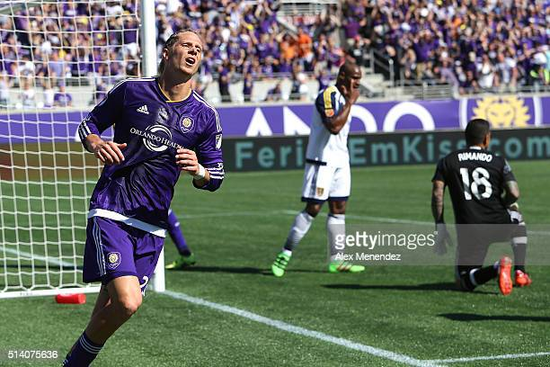 Brek Shea of Orlando City SC shows his frustration after missing a shot on goal during a MLS soccer match between Real Salt Lake and the Orlando City...