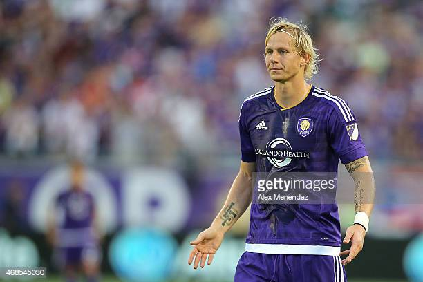 Brek Shea of Orlando City SC watches the play develop during a MLS soccer match between DC United and the Orlando City SC at the Orlando Citrus Bowl...