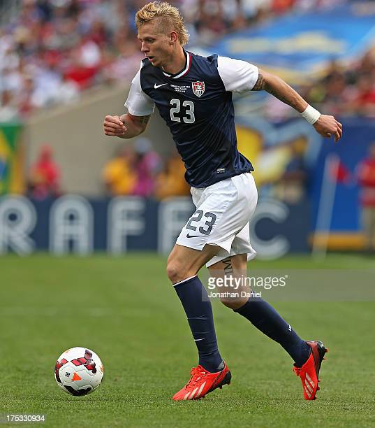 Brek Shea of the United States controls the ball against Panama during the CONCACAF Gold Cup final match at Soldier Field on July 28 2013 in Chicago...