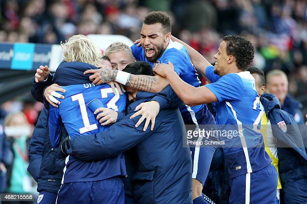 Brek Shea of the USA celebrates his scored goal with his teammates during the international friendly match between Switzerland and the United States...