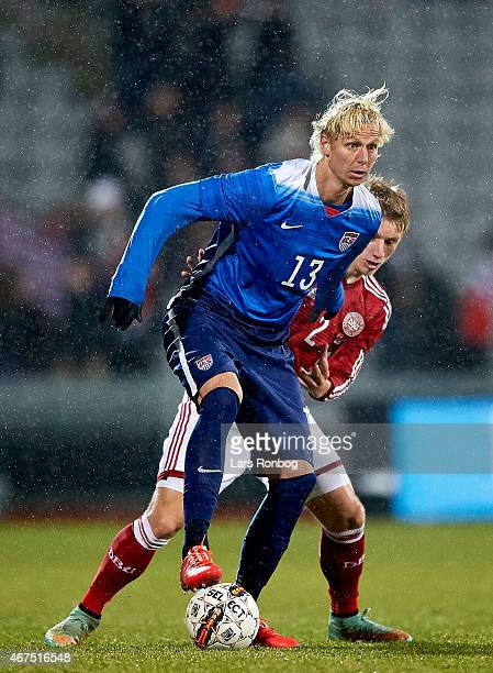 Brek Shea of United States and Daniel Wass of Denmark compete for the ball during the International Friendly match between Denmark and Unites States...