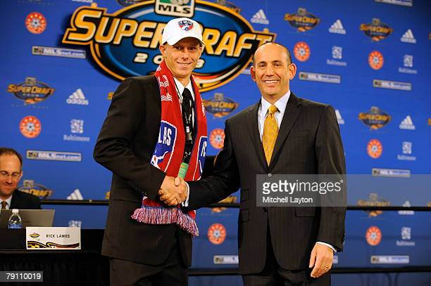 Brek Shea with Don Garber MLS Commissioner after being selected second by FC Dallas in the MLS Super Draft on January 18 2008 at the Baltimore...