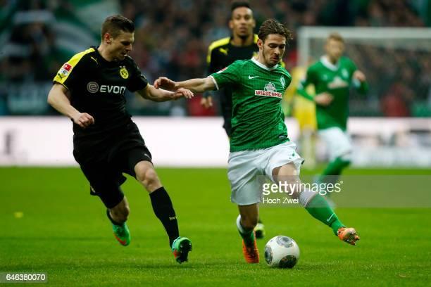 Bremen 8 Februar 2014 Fußball 1 Bundesliga 2013/14 SV Werder Bremen Borussia Dortmund Lukasz Piszczek Ludovic Obraniak // © ximgs wwwximgs...