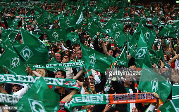 Bremen fans are seen prior to the DFB Cup Final match between Bayer 04 Leverkusen and SV Werder Bremen at the Olympic Stadium on May 30 2009 in...