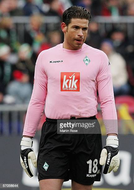 Bremen goalkeeper Tim Wiese of looks dejected after losing the Bundesliga match between Werder Bremen and Hertha BSC Berlin at the Weser Stadium on...