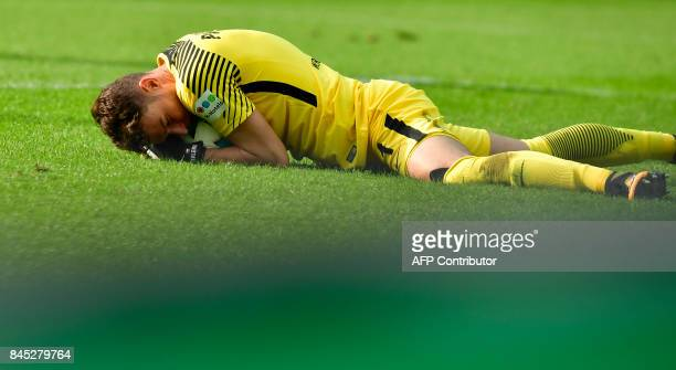 Bremen's Czech goalkeeper Jiri Pavlenka saves a ball during German first division Bundesliga football match between Hertha Berlin and Werder Bremen...