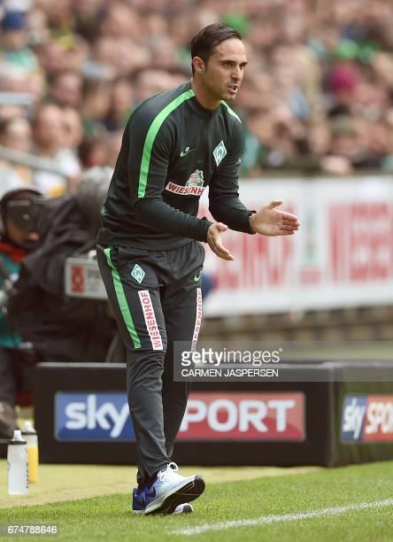 Bremen's head coach Alexander Nouri reacts during the German first division Bundesliga football match between Werder Bremen and Hertha Berlin on...