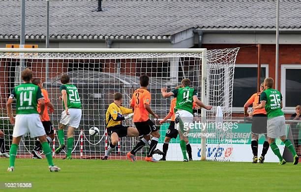 Bremens Kevin Maek scores his goal during the Third League match between Werder Bremen II and VfR Aalen on August 3 2010 in Bremen Germany