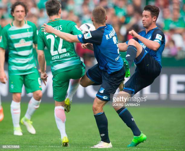 Bremen's midfielder Fin BartelsHoffenheim's Czech defender Pavel Kaderabek and Hoffenheim's forward Mark Uth vie for the ball during the German first...