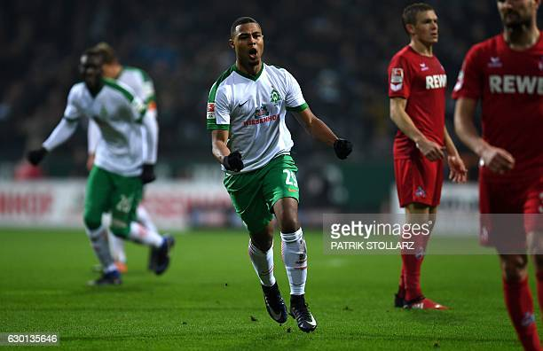 Bremen's midfielder Serge Gnabry celebrates during the German first division Bundesliga football match Werder Bremen vs 1 FC Cologne in Bremen...