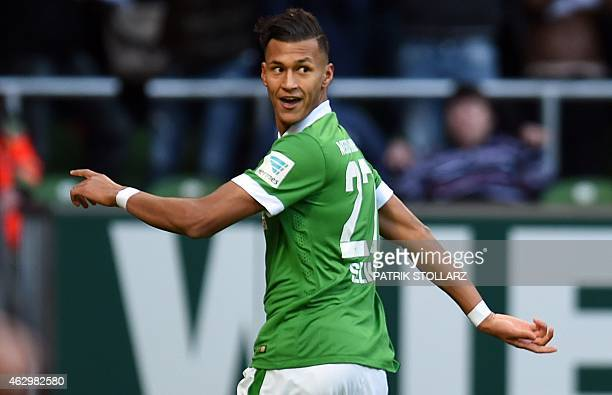 Bremen's striker Davie Selke celebrates during the German first division Bundesliga football match SV Werder Bremen vs Bayer 04 Leverkusen in Bremen...