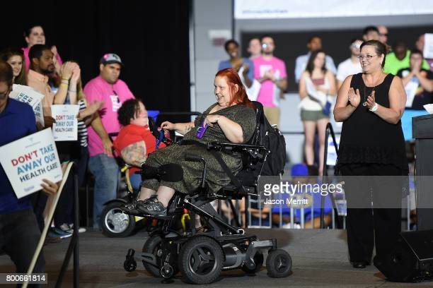 Brenda Dare and LeAnne Howell speak onstage as Sen Bernie Sanders and Pennsylvanians rally to demand that Sen Pat Toomey vote against Trumpcare...