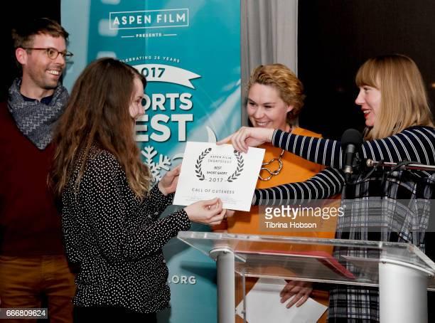 Brenda Lien wins the Best Short Short Award at the 2017 Aspen Shortsfest Awards Dinner on April 9 2017 at Aspen Kitchen in Aspen Colorado