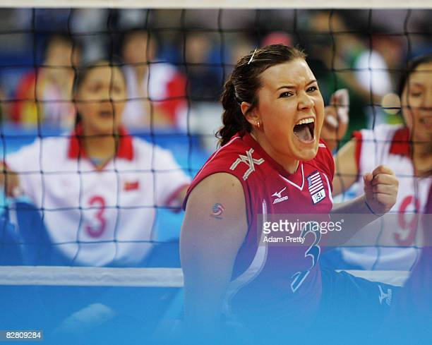 Brenda Maymon of USA celebrates during the Sitting Volleyball match between China and USA at the China Agricultural University Gymnasium during day...